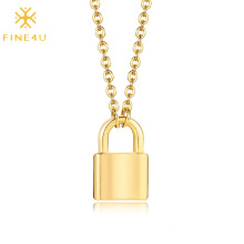 Mini Love Simple Stainless Steel Gold Plated Padlock Long Chain Necklace Vendors