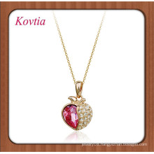 wholesale italina crystal apple shape pendant necklace for young girls