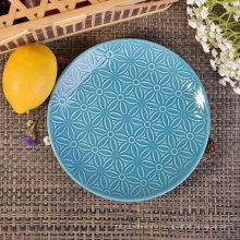 Dia 19cm Blue Glazed Round Ceramic Plates Saucers with Flower Design