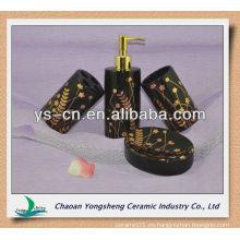 Accesorios de baño de cerámica de lujo negro y oro 4pcs