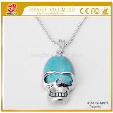 Natural Collar colgante 04SN0170 de la piedra preciosa de la turquesa con la cadena de plata 60CM Joyería cristalina de la piedra semi preciosa