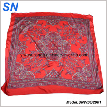 2015 OEM Fashion Satin Paisley Square Scarf