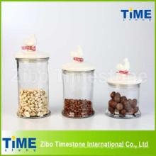 Set von 3PCS Glas Kanistern mit Keramik Rooster Gasketed Deckel