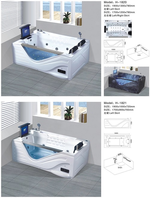 Premium plus size capacity free standing bathroom massage bathtub