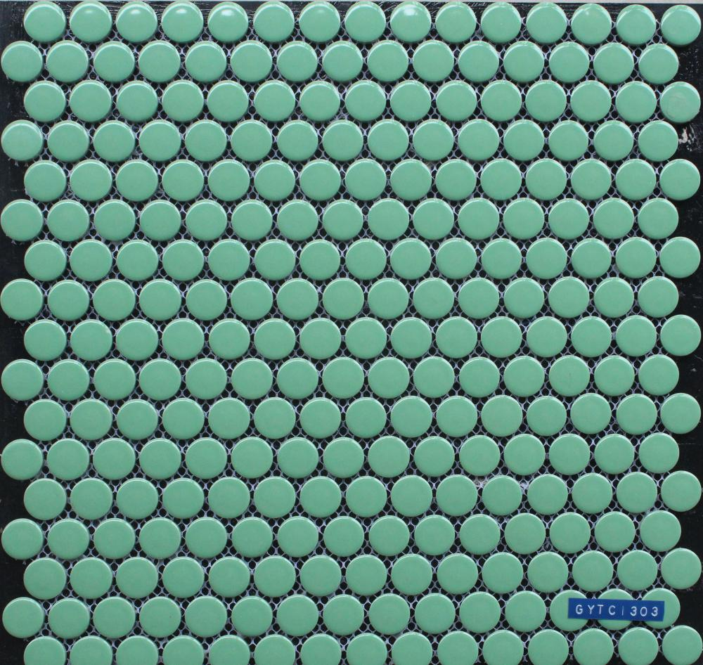 Small Round Green Porcelain Mosaic Tile
