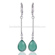 Atacado Jóias Green Onyx Gemstone Handmade 925 Sterling Silver Drop Earrings