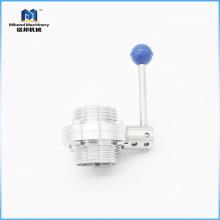 3A / DIN / SMS SS304 / 316L Санитарный резьбовой клапан-бабочка с многопозиционной ручкой