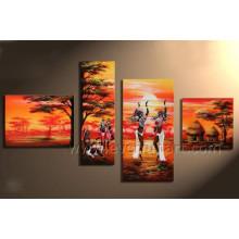 100% handgemachtes afrikanisches Kunst-Ölgemälde auf Segeltuch (AR-148)
