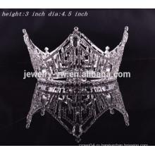 Аксессуары для волос король волос кристалл полный круглый тиары короны