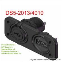 5V Voltmeter Socket & 2port USB Socket