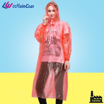 Transparent disposable plastic material rain suits for camping hiking