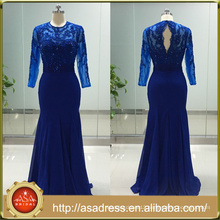 ASAP-05 O-neck Long Sleeves Sequins Crystal Beaded Trumpet Royal Blue Long Evening Dresses Custom Made