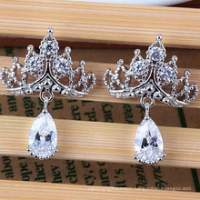 Cubic Zirconia Crystal Diamond Stud Silver Earrings Fashion Jewelry