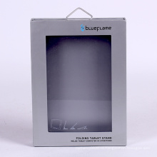 Подгонянная коробка подарка планшетный упаковывая с крюком металла и окна ПВХ