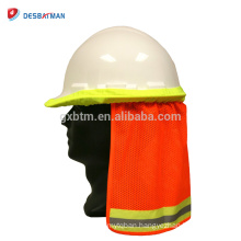 High visibility reflective 100% polyester fabric safety hard hat neck helmet sun shield stripe construction cap