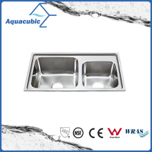 Above Counter Stainless Steel Moduled Kitchen Sink (ACS-7742)