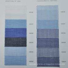 Sob medida de tecido de linho de algodão sem quantidade mínima de ordem mais recente padrão de camisas para homens