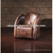 Country style Vintage leather lounge chaise A626