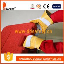 Усиленная кожаная ладонь, хлопчатобумажные задние перчатки Резиновая манжета Dlc330