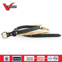 Cintos elásticos de metal dourado de moda para mulheres