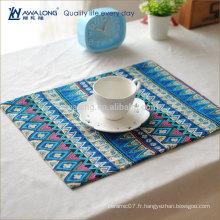 Jolie conception de style coloré National Pattern Rectangular Placemat, haute qualité en coton et en lin