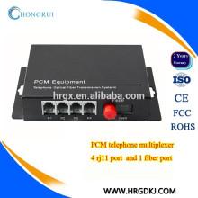 4 канала оптического волокна с разъемами RJ11 конвертер