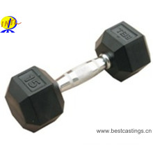 Hot Sale Cast Iron Rubber Coated Hex Dumbbell