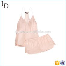 Blush cor sexy mulheres pijamas pijamas simples conjuntos de cetim sleepwear