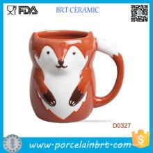Gros Red Fox forme en céramique tasse d'eau