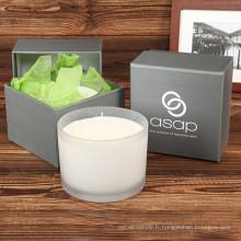 Bougie parfumée de vente chaude de pot de verre de cadeau de luxe de trois bougies