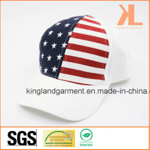 100% Baumwollbohrer USA Amerikanische Flagge Weiß Baseballmütze