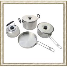 4 piezas de acero inoxidable Camping Set de utensilios de cocina, sistema del Cookware al aire libre