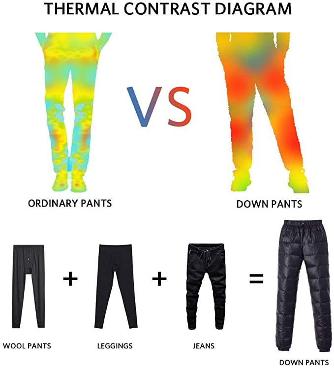 Men S Women Winter Warm Utility Down Pants Sassy High Waisted Nylon Compression Snow Trousers3
