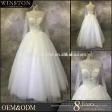 Лучшее качество падение талии бисером свадебное платье