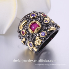 Ladies rings famous products in black gold two-tone plating products