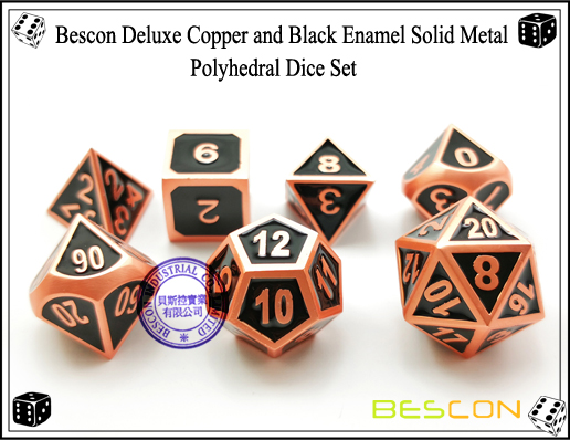 Bescon Deluxe Copper and Black Enamel Solid Metal Polyhedral Role Playing RPG Game Dice Set (7 Die in Pack)-5
