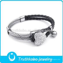 Pulsera elegante del cuero de la joyería de la pulsera del acero inoxidable de la fábrica 316l de China de la moda caliente