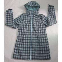 Yj-1073 Frauen Mädchen grün gedruckt wasserdicht atmungsaktive mit Kapuze Softshell Jacken