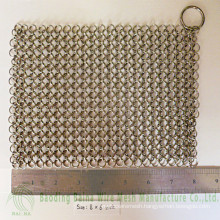 2015 Alibaba china supply high quality Cast Iron Pan Cleaner steel 316 chain mail scrubber