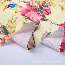 Tissu de robe imprimé numérique floral en lin britannique de polyester