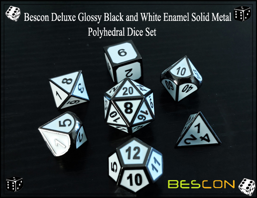 Bescon Deluxe Glossy Black and White Enamel Solid Metal Polyhedral Role Playing RPG Game Dice Set (7 Die in Pack)-2