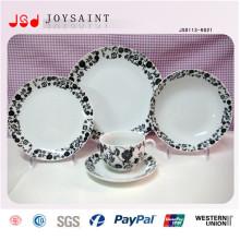 Usine Nouveau Design Rond Couleur Cercle 12 PCS Porcelaine Dinnerset 12 PCS Vaisselle En Céramique Set