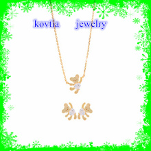 2016 moda cristal colar de urso ouro banhado colar conjunto de jóias 925 colar de prata esterlina conjunto