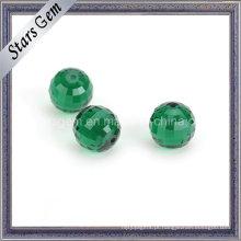 Colunbia esmeralda verde redonda contas de vidro de corte de verificador