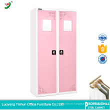 bedroom furniture double color steel or iron wardrobe design with mirror