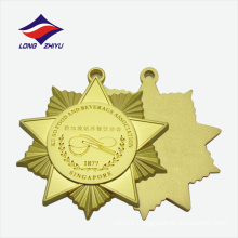 Factory custom design slippy recessed gold plated medals
