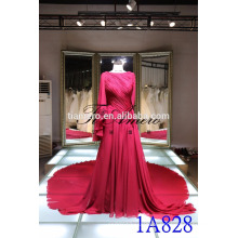 China atacado fábrica vestido de noiva de noiva 2016 Real Picture Junoesque Vermelho Plissados ​​Ruching Long Tail Prom Dress Evening Dress