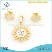 2015 316l conjunto de cristal de aço inoxidável ouro amarelo jóias flor para noivado atacado