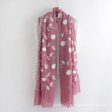 Lenço da senhora voile floral bordado algodão moda (yky1155)