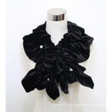 Mulheres moda lenço de veludo de poliéster com pérolas (yky4584b)
